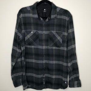 DC Shoe Co men's grey buttoned cotton flannel L